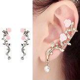 Elegan Bunga Merah Muda Womens Cuff Earring Silver Gold Colour