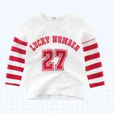 ボーイズキッズスポーツラッキーナンバープリントストライプパッチワークTシャツ
