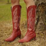 زائد الحجم النساء ريترو الأحمر أشار تو مطرزة كعب مكتنزة سستة أحذية كاوبوي