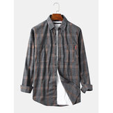 Herren Plaid Dual Pockets Langarm Casual Check Shirts