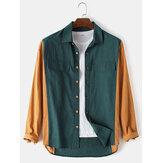 Camisas transpirables de manga larga con botones de patchwork sólido para hombre 100% algodón