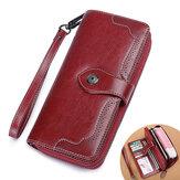Vintage Large Capacity 10 Card Slot Genuine Leather Mobile Phone Storage Bag Long Wallet Purse