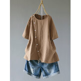 Short Sleeve Button Irregular Hem Blouse