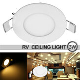 85mm 3W Slim LED Round Recessed Ceiling Light SMD2835 Flat Panel Ultra Thin RV Caravan Lamp DC12V