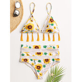 Women Sunflower Print Triangle Tassel String Backless Swimwear High Waist Bikini