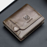 Πορτοφόλι Άδειας Χρήσης Bullcaptain Men Genuine Leather Thin Card Holder Wallet