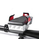Farol de bicicleta XANES® 4-em-1 550LM Luzes dianteiras de bicicleta de 4 modos 130dB Buzina Suporte de telefone de 4-6,3 polegadas Power Bank Outdoor Cycling