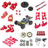 Wltoys 144001 1/14 Upgrade Metal RC Car Parts Swing Arm C Seat Connector Steering Cup Rear Wheel Seat Rod Gear Red