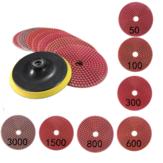 8pcs 5Inch 50-3000 Grit Wet Dry Diamond Polishing Pads Set with Self-Adhesive Disc Polishing Tool
