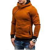 Men Zipper Dual Pockets Hooded Sweatshirt