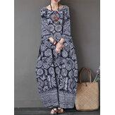 Wanita Maxi Dress 3/4 Lengan Longgar O-neck Longgar