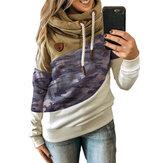 Sweats à capuche décontractés à manches longues en coton à imprimé camouflage pour femmes