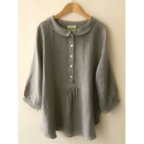Women Pure Color Button Down 3/4 Sleeve Blouse