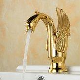 Europese Swan antieke badkamer wastafel kraan Warm en koud water mengkraan enkel handvat koper dekblad