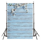 3x5FT White Flower Blue Wood Wall Photography Backdrop Studio Prop Background