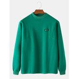 メンズコットンソリッドカラーラベルラウンドネック長袖プルオーバーデザインスウェットシャツ