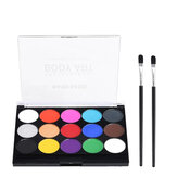 Bomeijia 15 Colors Solid Pigment Face Painting Body Makeup Pigment Non Toxic Safe Water Paint Oil With Brush For Christmas Halloween Party Tools