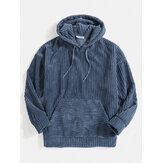 Herre Corduroy ensfarvet Kangaroo Pocket Drop Shoulder Hoodies