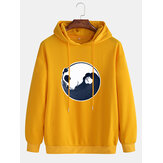 Cotton Mens Cartoon Panda Printed Dropped Shoulder Long Sleeve Casual Hoodies