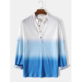 Mens Waffle Ombre Button Casual Long Sleeve Henley Shirt