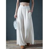 Damskie spodnie na co dzień z elastyczną talią i szerokimi nogawkami z bocznymi kieszeniami