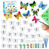 54 pçs / set DIY pintura borboletas pintados à mão pintura arte artesanato conjunto de pigmento de graffiti crianças crianças brinquedos educativos