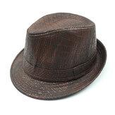 Mens PU Leather Crocodile Modello Jazz Hat Cappelli Fedora a tesa larga di mezza età per esterni