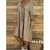 Women Solid Color Cotton Loose V-Neck Short Sleeve Dress