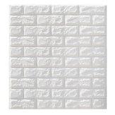 5Pcs 3D Waterproof Tile Brick Wall Sticker Self-adhesive White Foam Panel 70x77cm