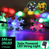 5M 20LED énergie solaire fée guirlande lumineuse lampe de fête de vacances de Noël étanche pour le décor extérieur