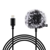 PULUZ Mini 1.5m 8Pin Jack Lavalier Wired Condenser Recording Microphone for Live Vlog Phone