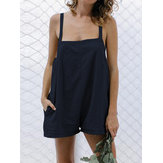 Women Casual Spaghetti Straps Cotton Short Jumpsuit
