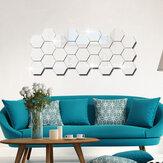 12 sztuk 3D naklejki ścienne DIY lustro sześciokątne winylowe zdejmowane kalkomanie do dekoracji salonu w domu