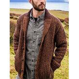 Suéter tipo cárdigan de manga larga de punto patchwork de un solo pecho para hombre