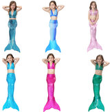 Kids Mermaid Tail Three-Piece Set Girls Swimwear Lace-up Bikini