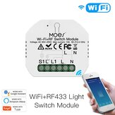 MoesHouse Mini DIY WiFi RF433 Smart Relay Switch Module Smart Life/Tuya App Control for  Alexa Google Home 1 Gang 1/2 Way
