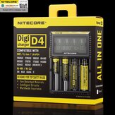 NITECORE D4 LCD Display QC Schnellladung Smart Batterie Ladegerät Universal Für Lithium Ni-Mh Batterie 18650 26650 21700 RCR123A AA AAA