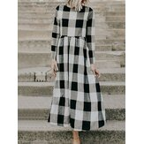 Casual Women Loose Plaid Crew Neck Long Sleeve Dress