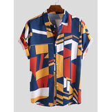 Mens Fashion Colorful Contraste de impressão a cores Loose Casual Shirts