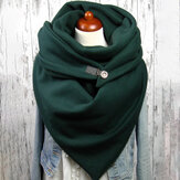 Women Cotton Plus Thick Keep Warm Winter Outdoor Casual Solid Color Multi-purpose Scarf Shawl