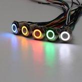 12 V 1-3A 16mm 5 Farben LED Power selbstsichernde Knopfschalter Silber Aluminium me<x>tall Verriegelungstyp Rot/Gelb/Weiß/Grün/Blau