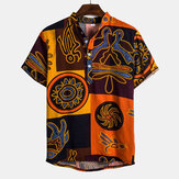 Mens Ethnic Pattern Printed Short Sleeve Casual Shirts