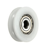 20Pcs 5x24x7mm U Notch Nylon Round Pulley Wheel Roller For 3.8mm Rope Ball Bearing
