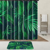 Tropical Plants Waterproof Shower Curtain Fabric With Hooks Ring Polyester Bathroom Rugs Mat