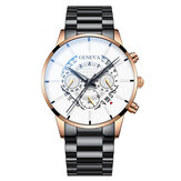 Decorated Pointer Business Style Men Watch Calendar Stainless Steel Band Quartz Watch
