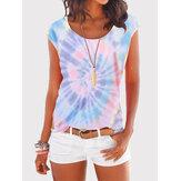 Women Summer Tie-dye Print Short Sleeve Casual Wild T-shirts