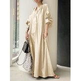 المرأة نفخة كم الوقوف الياقة الصلبة اللون قميص سوينغ فستان ماكسي عارضة مع جيب