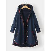 Frauen Jacquard Patchwork Knopf Detail Langarm Kapuze Plus Größe Mantel