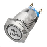 12V 19mm 5 Pin Silver Fire Lasers Metal Push Button Switch LED Light Momentary