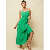 Solid Color Straps Sleeveless Belt Button Maxi Dress